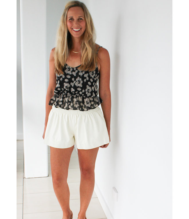FAUX LEATHER SHORT- Black and Cream