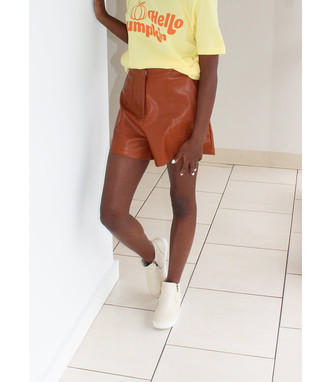 FAUX LEATHER SHORT- Camel and Olive