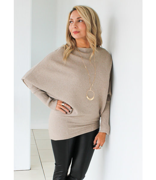 RIBBED DOLMAN SWEATER- 2 Colors