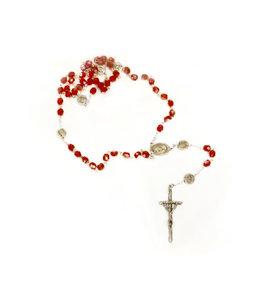 Chapelet rouge clair irisé Divine Miséricorde