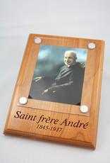 Plaque Saint frère André photo couleur sur bois