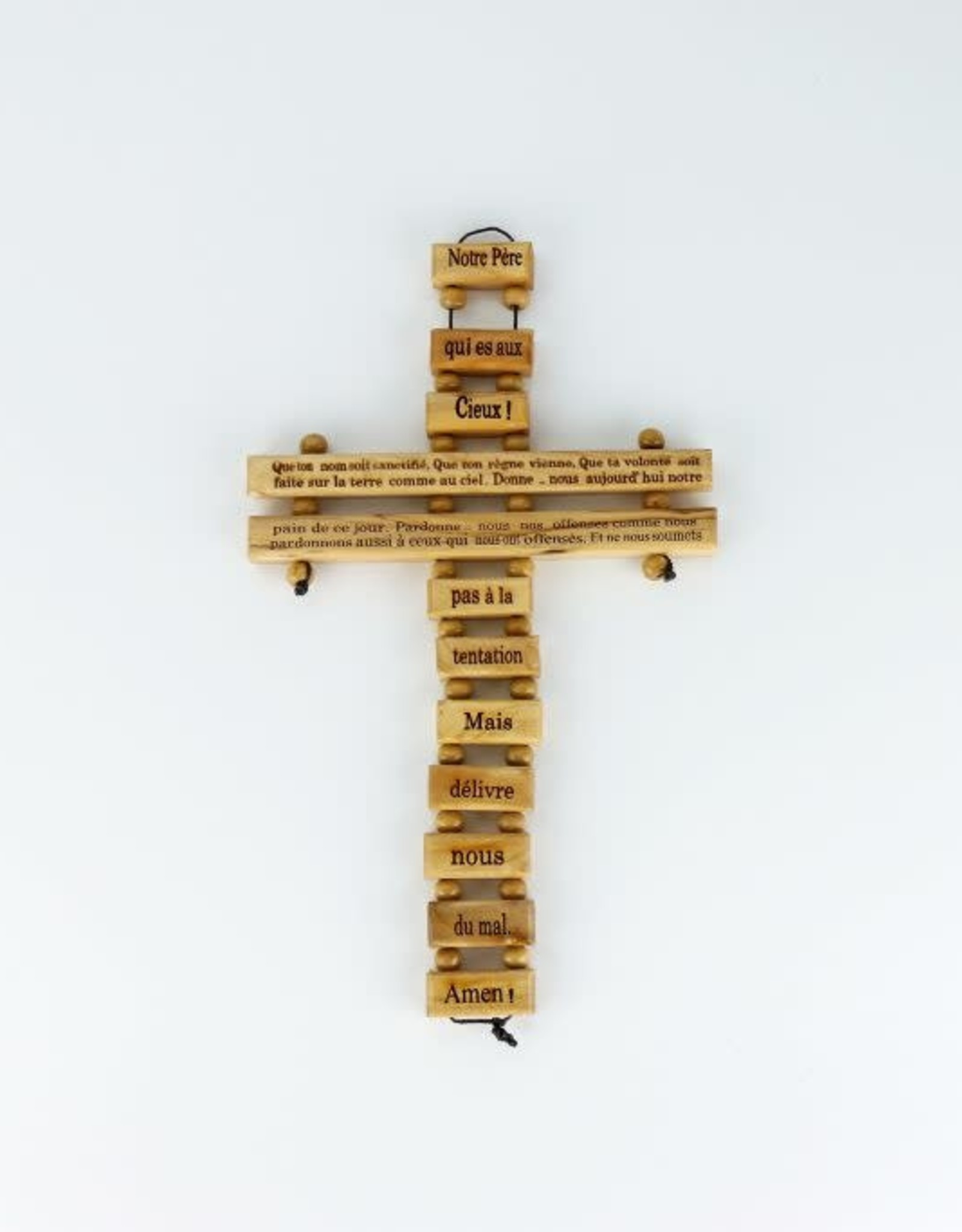 Olive wood cross with ''Notre Père'' prayer (24 cm)