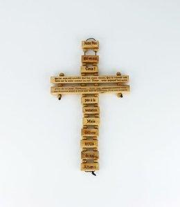 Croix ''Notre Père'' en bois d'olivier (24 cm)
