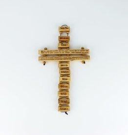 Olive wood cross with ''Notre Père'' prayer (24 cm)