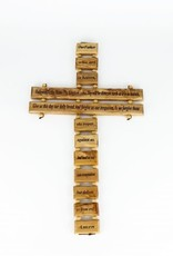 """Olive wood cross """"Our Father"""" (34 cm)"""
