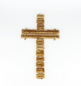 Croix ''Our Father'' (anglais) en bois d'olivier (34cm)