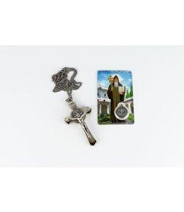 Croix argenté de saint Benoît sur chaîne et carte de prière avec médaille