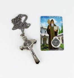 Saint Benedict silver colored cross with chain and prayer card with medal