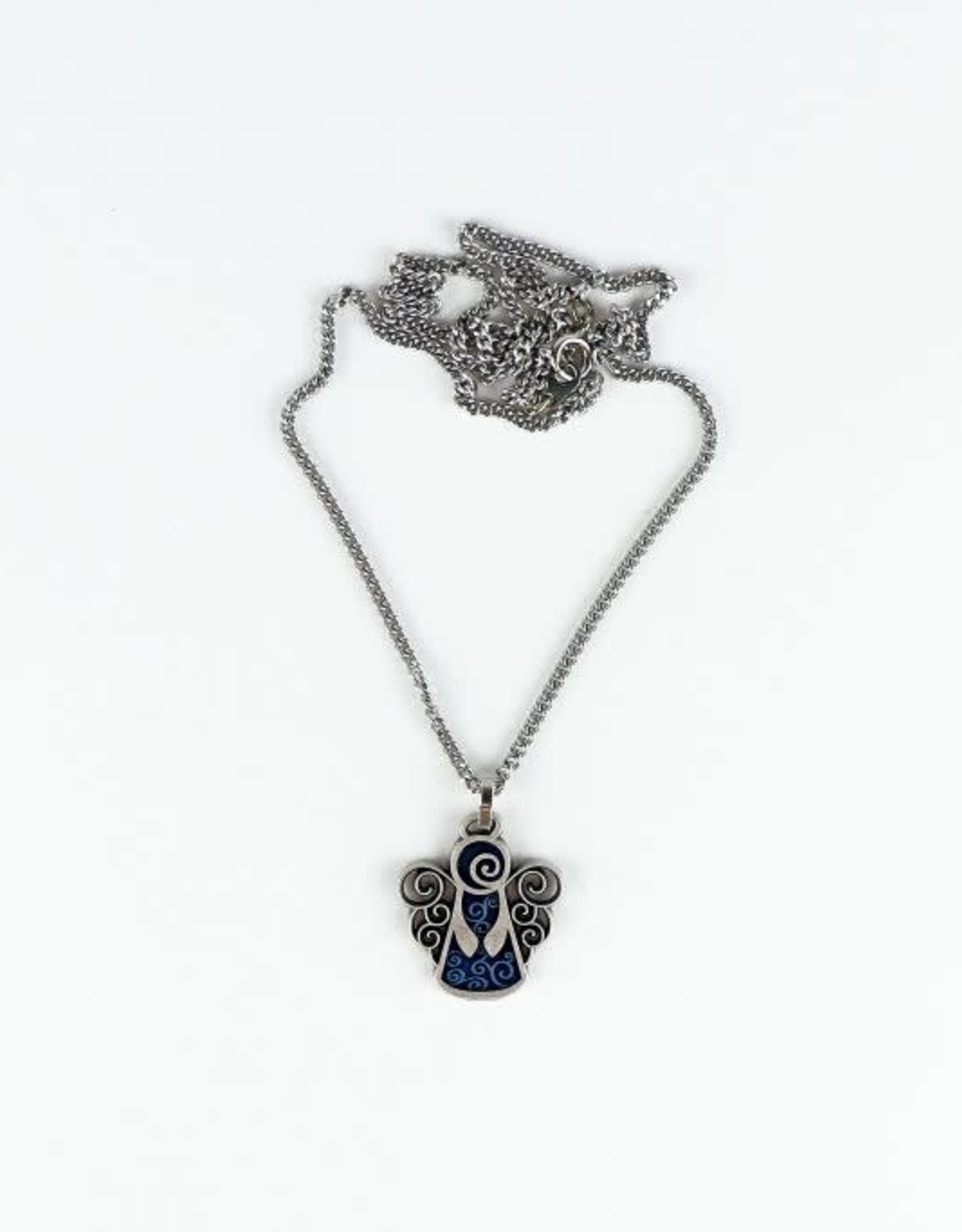 Blue Enamel Angel pendant with chain