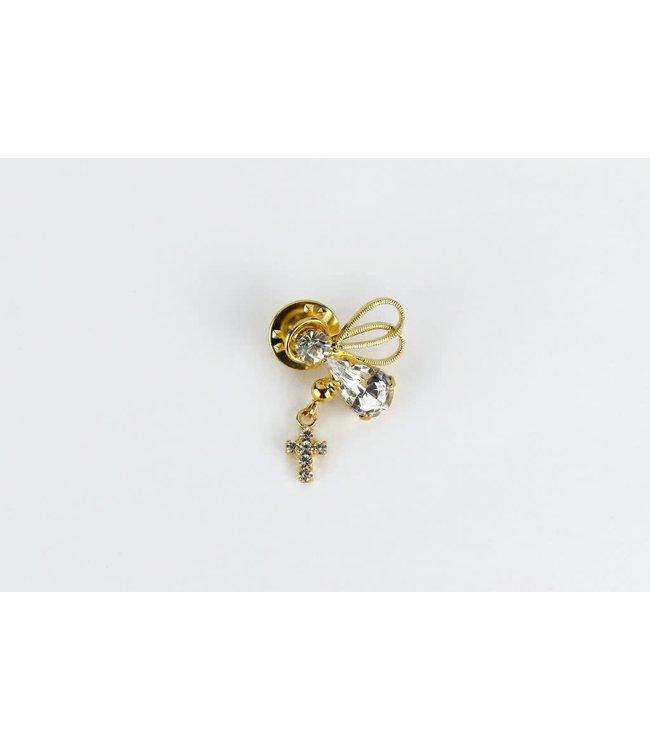 Épinglette Ange et croix de cristal