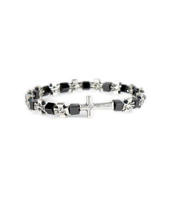 Metal and hematite cross bracelet