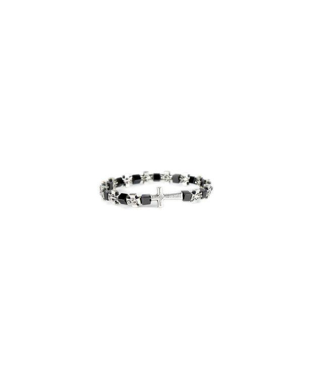 Metal and hematite cross bracelet