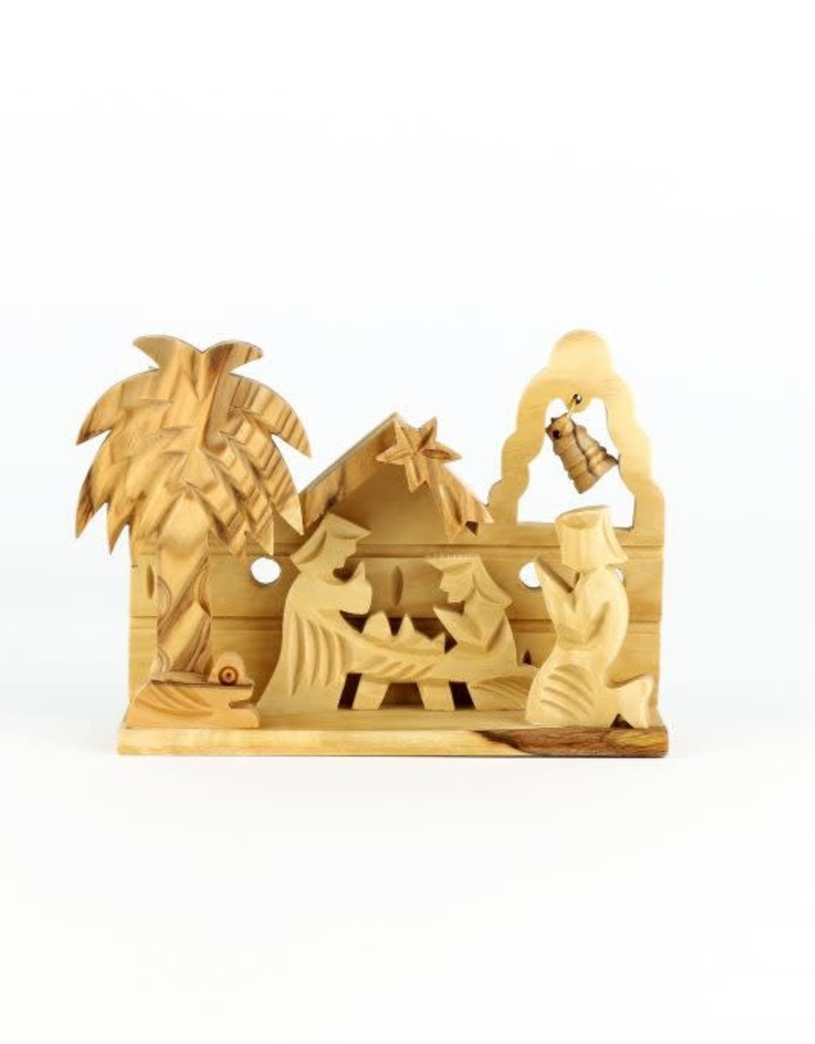 Petite crèche en bois d'olivier