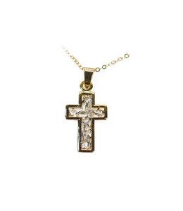 Croix dorée ajourée et chaîne