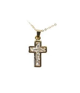 Openwork golden cross and chain