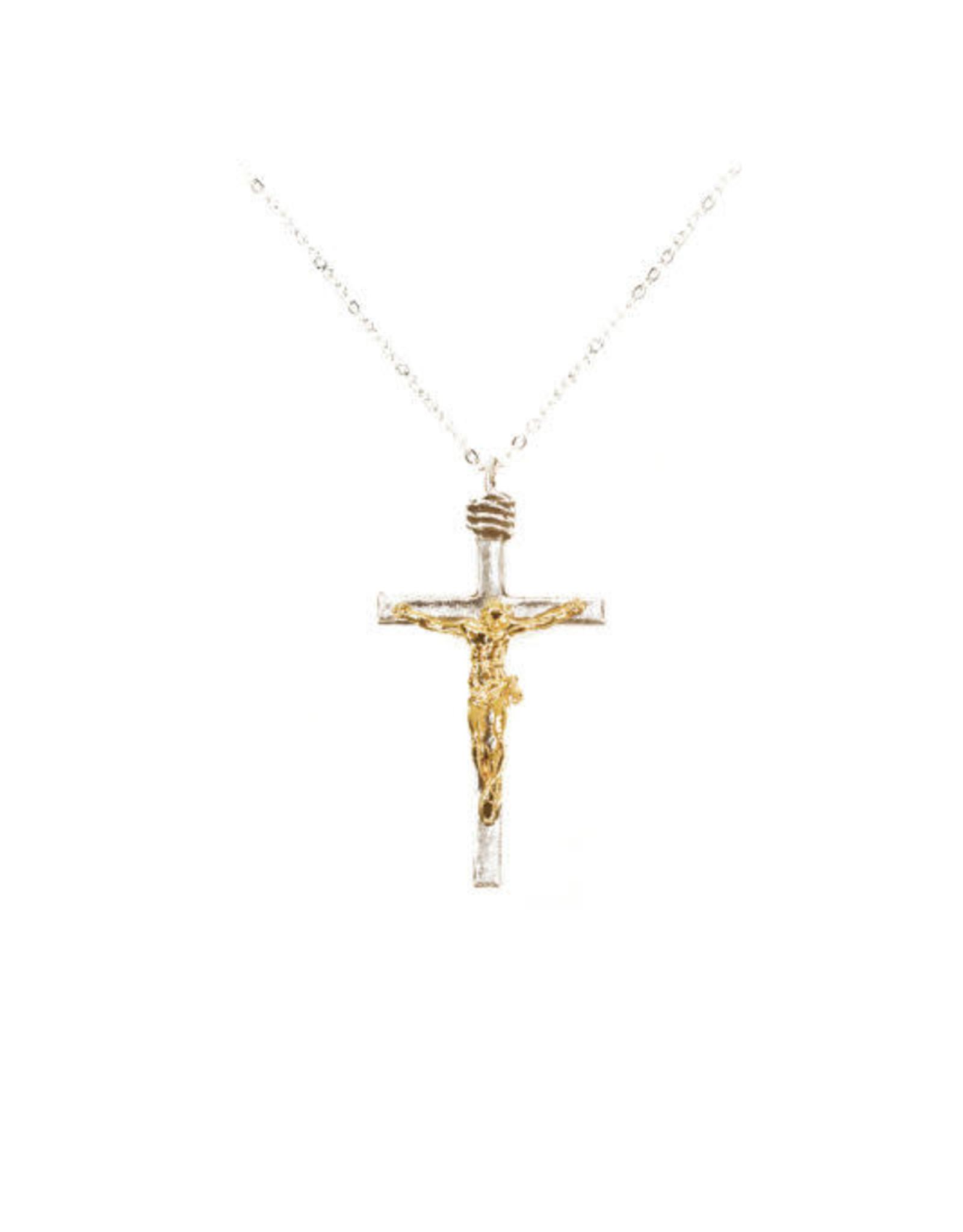 Crucifix doré et argenté avec chaîne