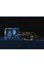 3D Engraved Crystal LED Keychain - Saint Brother André and Oratory