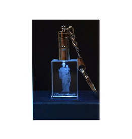 3D Engraved Crystal LED Keychain - Saint Joseph