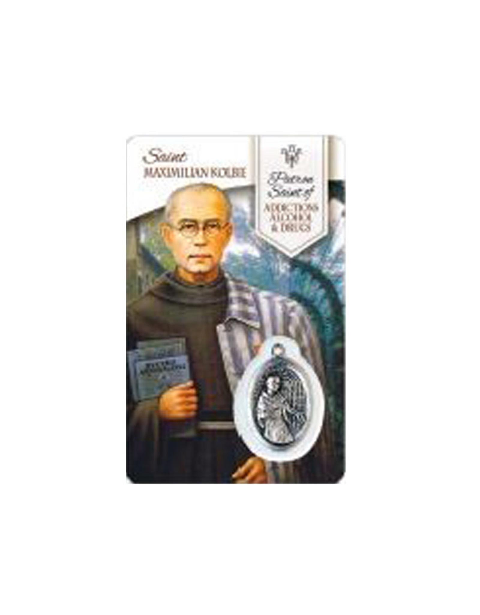 Carte médaille Saint Maximilien Kolbe Saint Patron des Dépendances