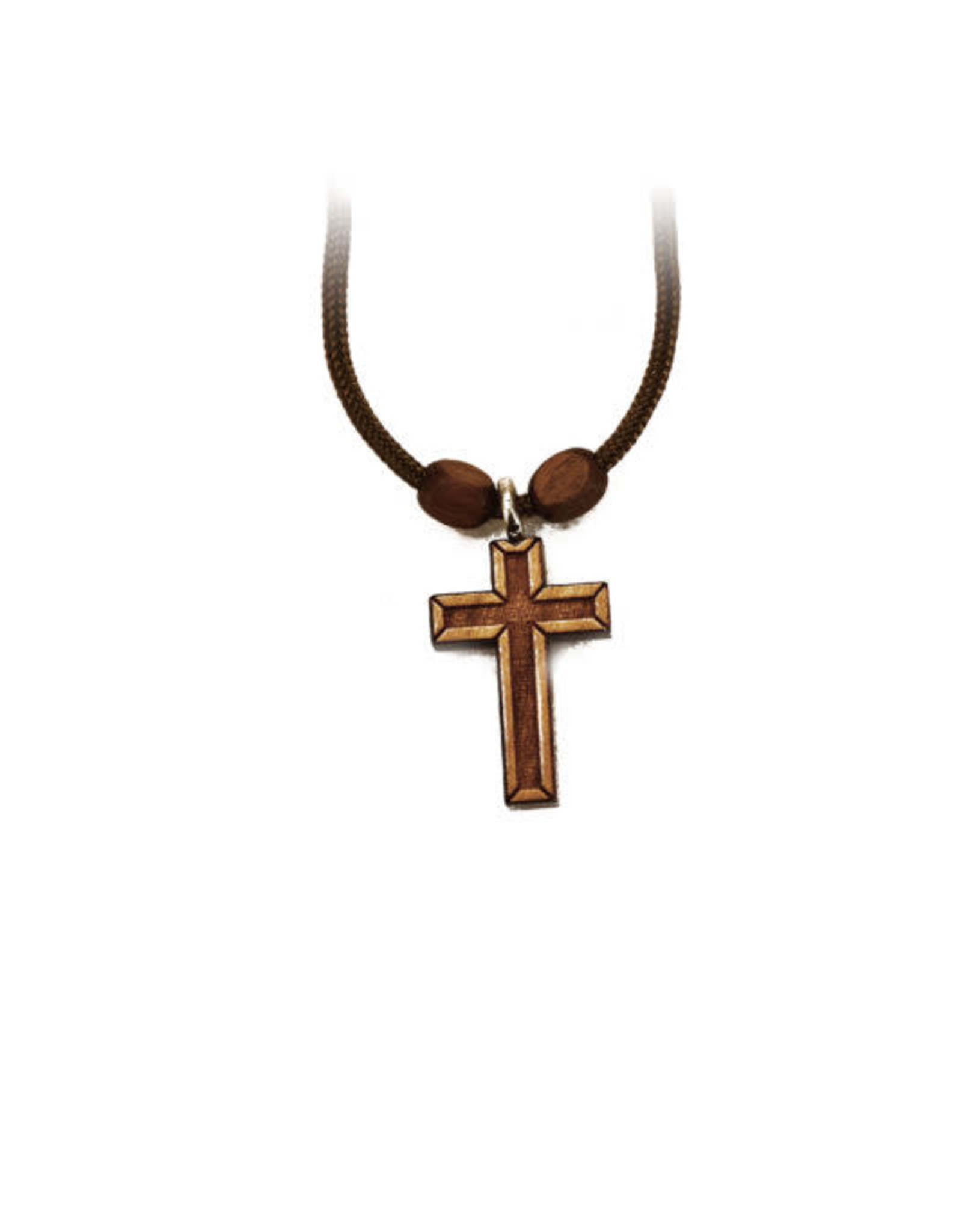 Lined Wooden Cross Pendant