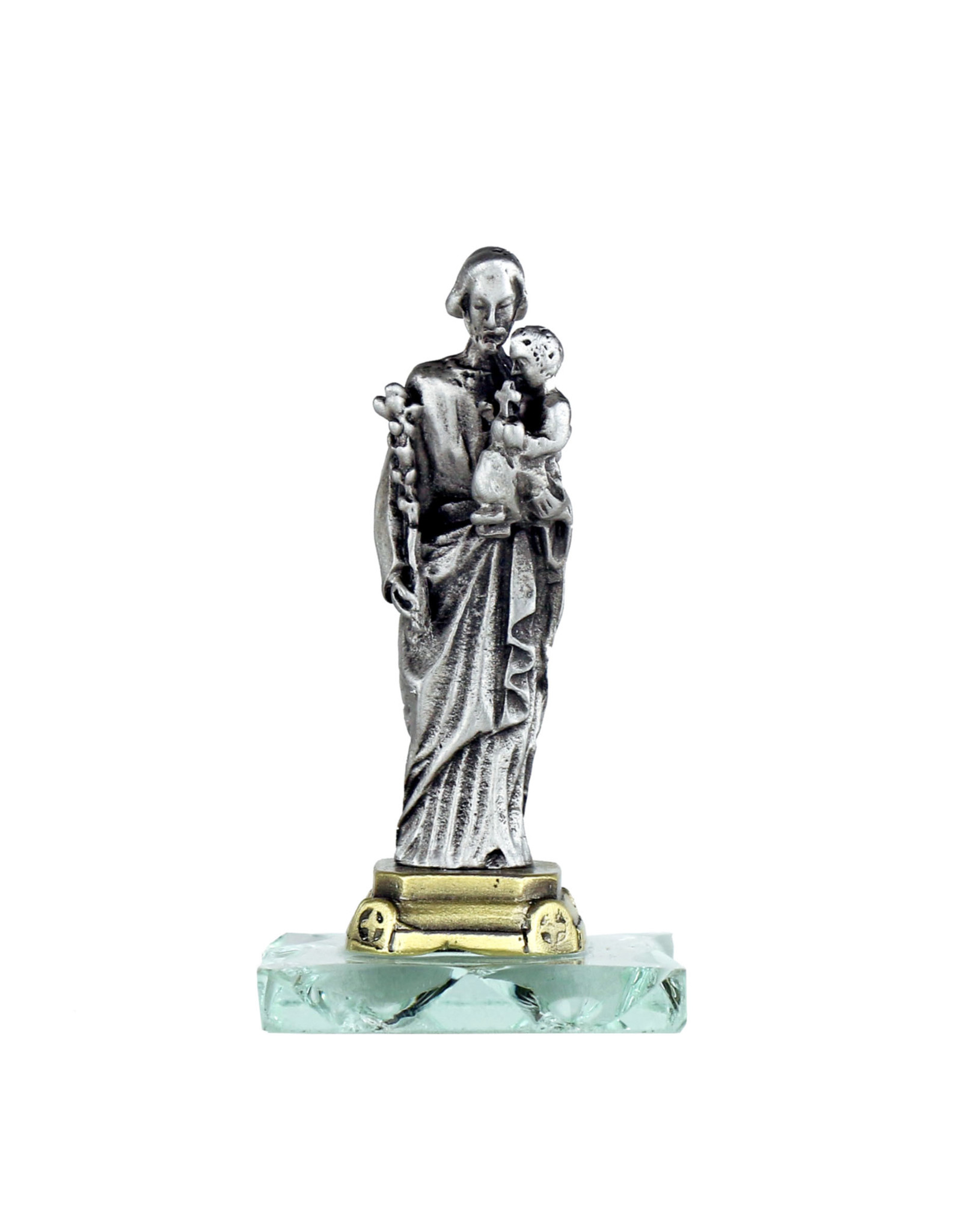 Statue of Saint Joseph on glass base