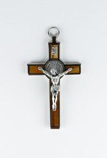 Crucifix saint Benoît en bois et métal (14cm)