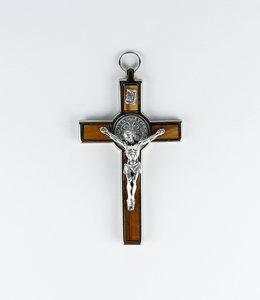 Saint  Benedict wood and metal crucifix (14cm)