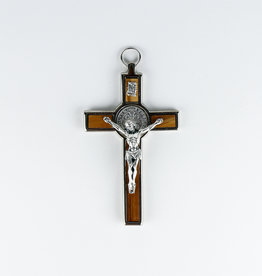 Saint  Benedict wood and metal crucifix (14cm)