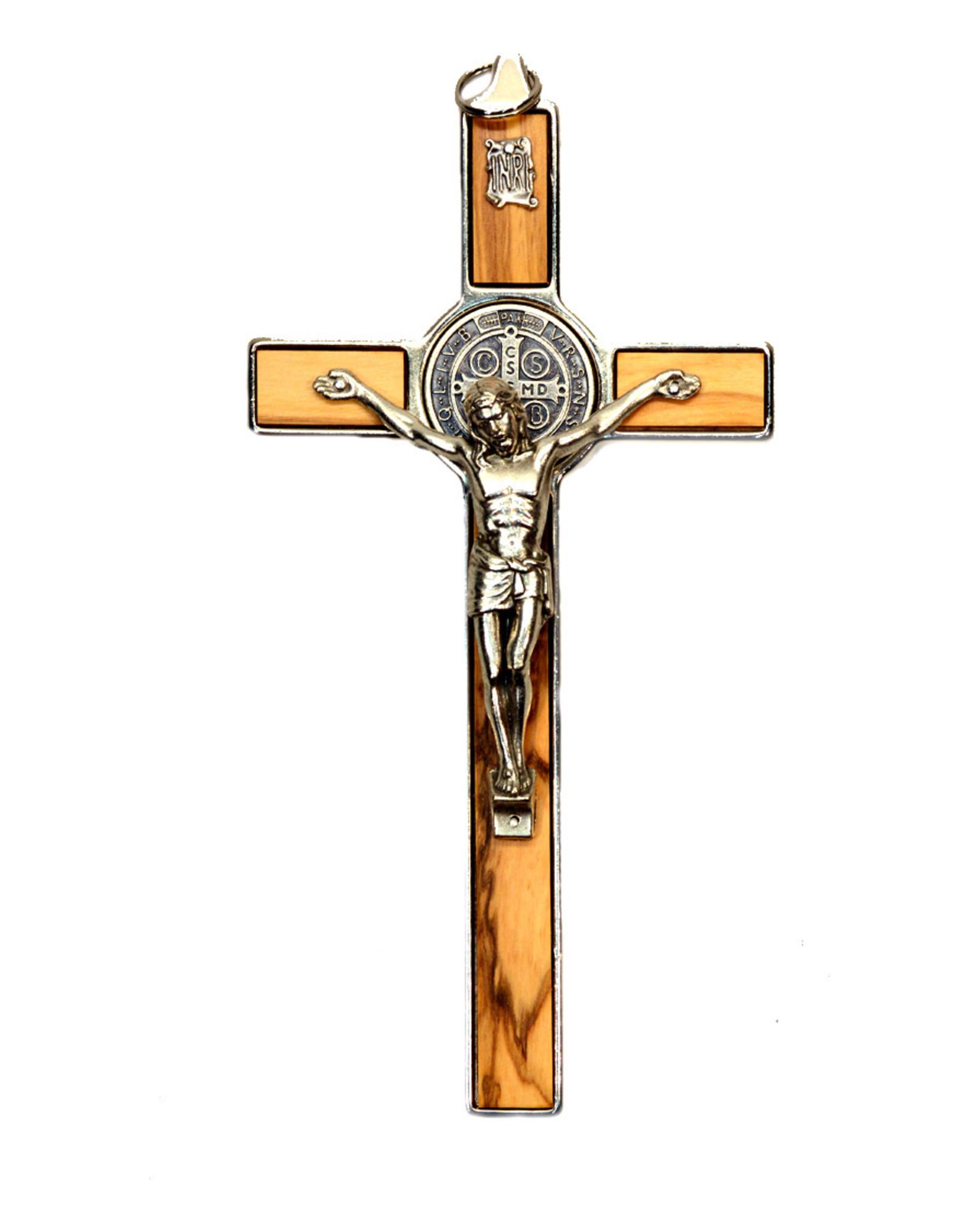 Saint Benedict Olive Wood and Metal Crucifix