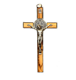 Saint Benedict Olive Wood and Metal Crucifix