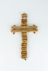 Croix ''Notre Père'' en bois d'olivier (34 cm)