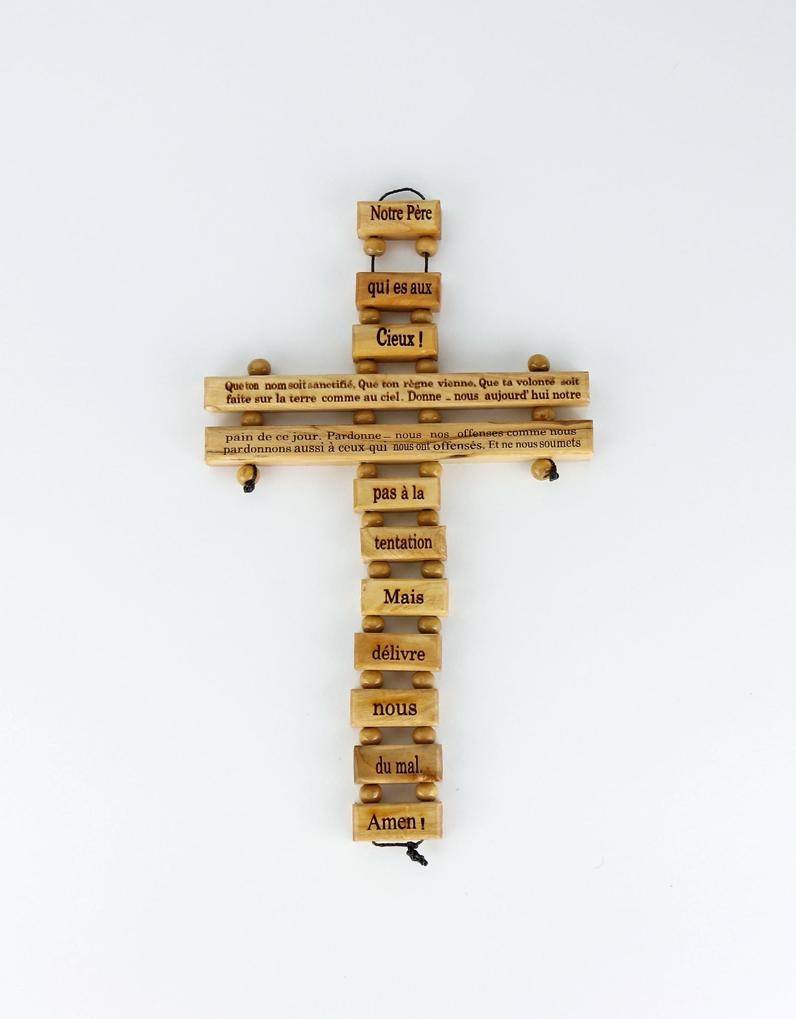 Olive wood cross with ''Notre Père'' prayer (34 cm)
