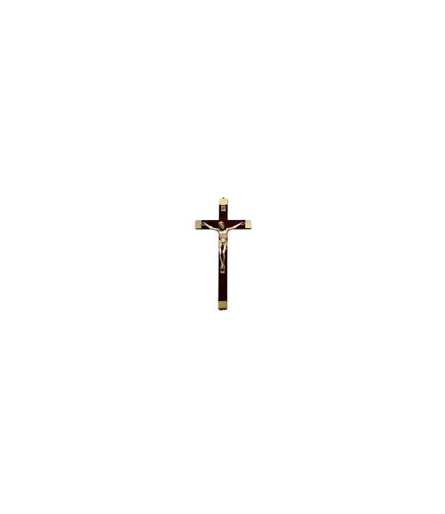 Crucifix en bois foncé avec corpus argenté