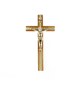 Wooden wall crucifix with golden corpus