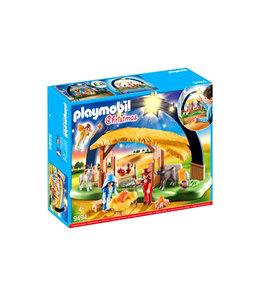 Crèche et étable Playmobil étoile illuminée