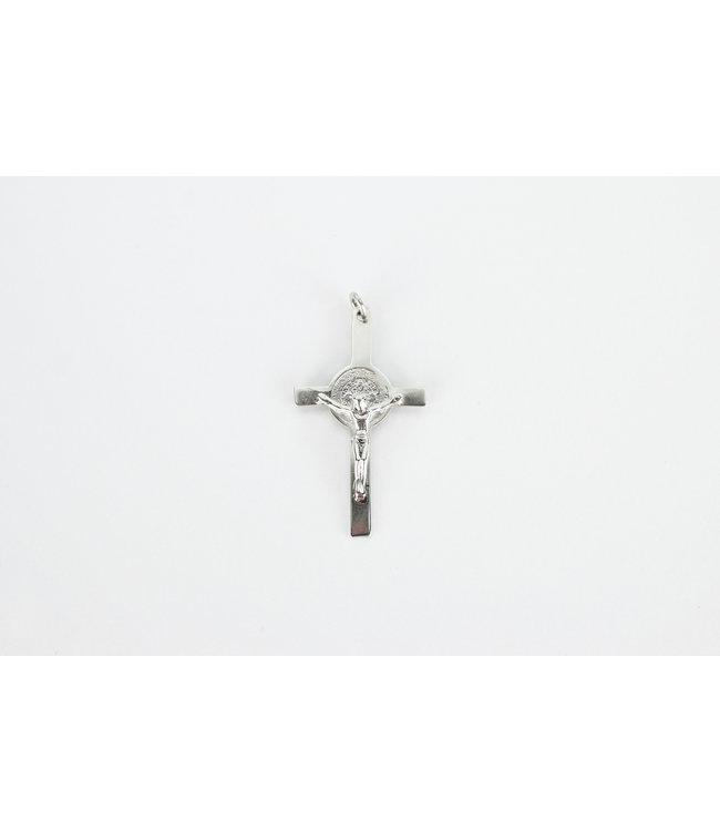 Croix saint Benoît avec corpus , argent sterling 925