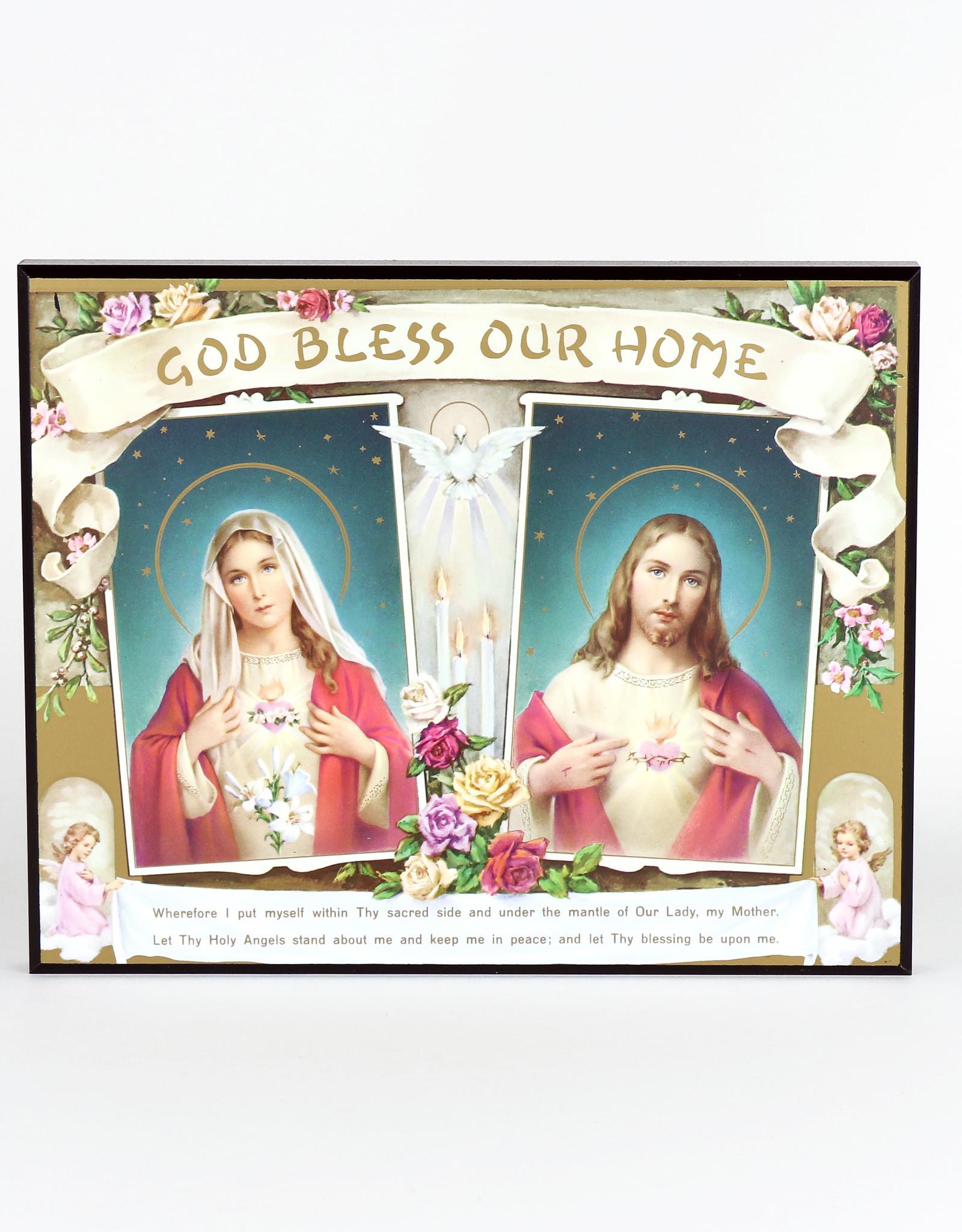 Plaque de bois ''God bless our home ''