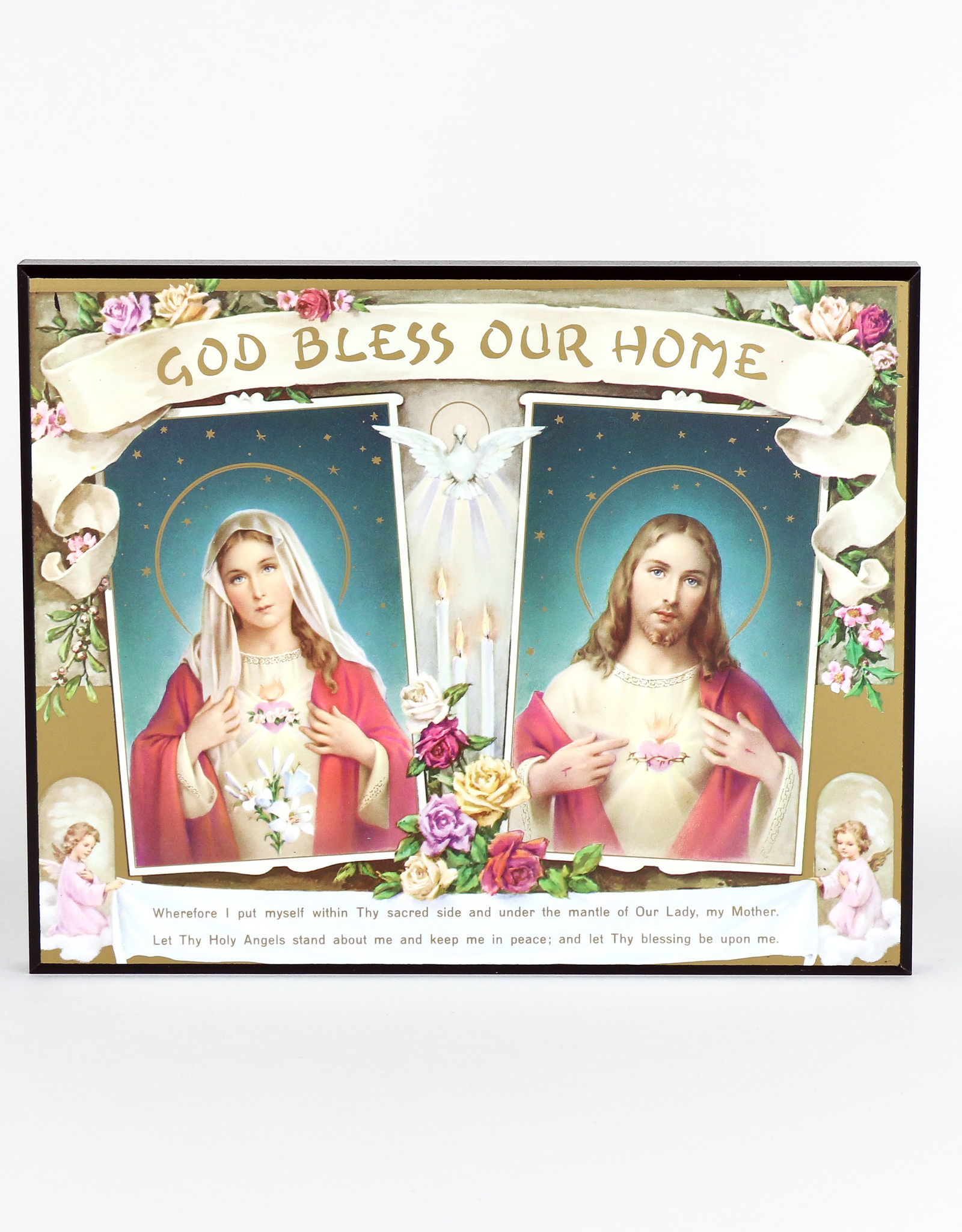 "Wooden Plaque ""God Bless our Home"""