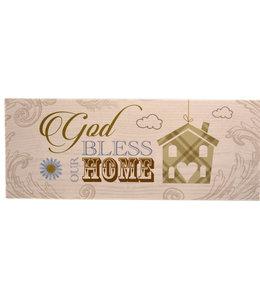 Plaque en bois ''God bless our home''