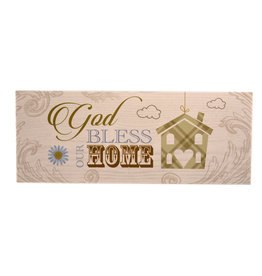 Plaque en bois ''God bless our home''