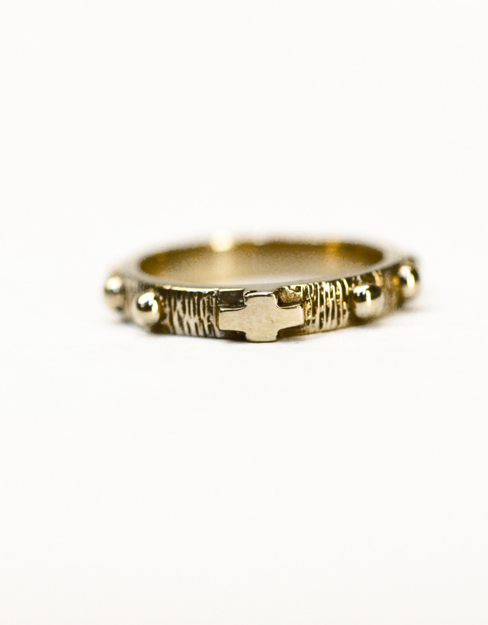 Rosary ring small cross 10k gold