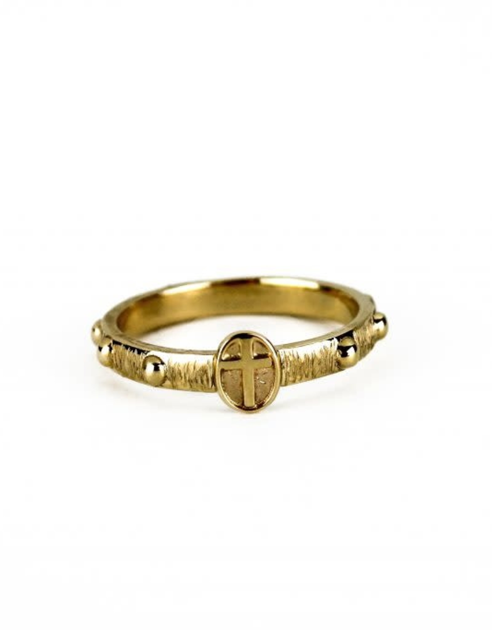 Rosary ring with round cross, 10K gold