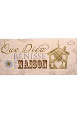 Wooden Plaque ''Que Dieu bénisse notre maison''