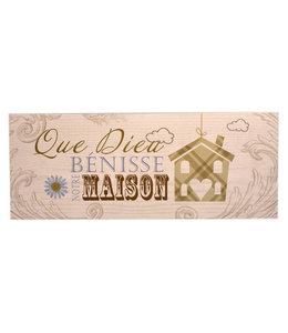 Plaque en bois ''Que Dieu bénisse notre maison''