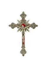 Brass crucifix with velvet bacground