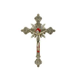 Brass crucifix with velvet background