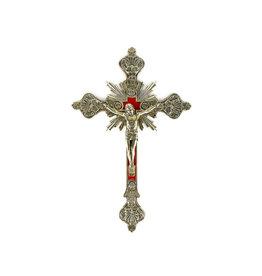 Crucifix en laiton fond velours rouge