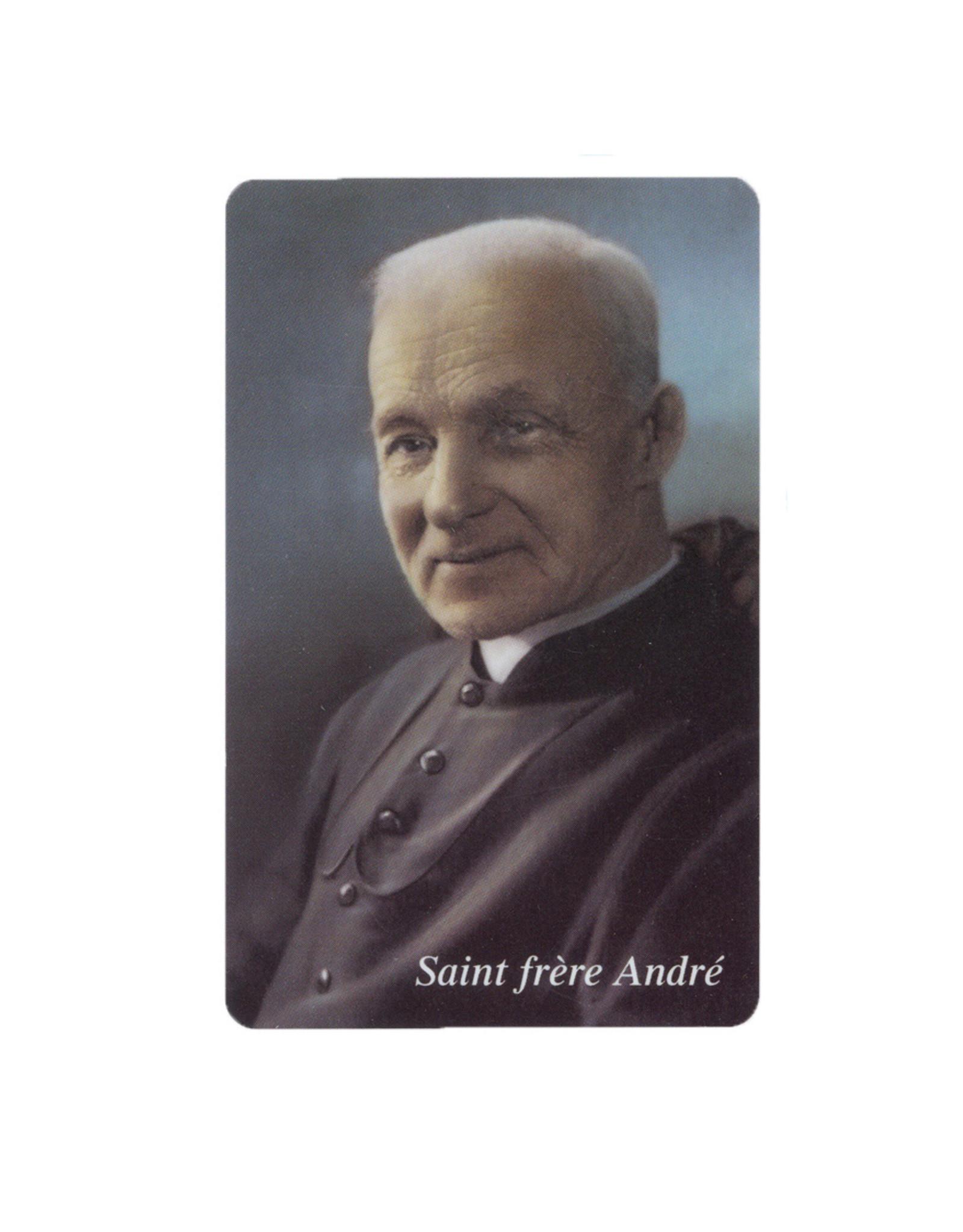 Carte plastifiée Saint frère André avec prière (Photo officielle de la canonisation)