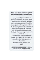 Saint Brother André plasticized prayer card (french)