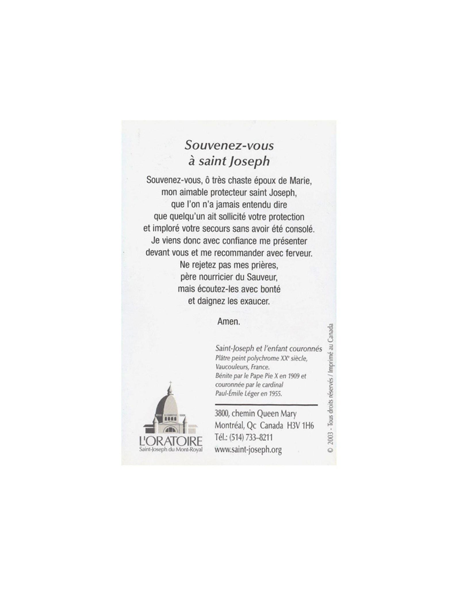 L'Oratoire Saint-Joseph du Mont-Royal Carte prière saint Joseph